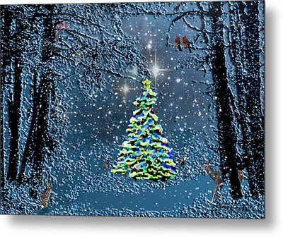 Starry Night Forest Christmas Metal Print by Michele  Avanti