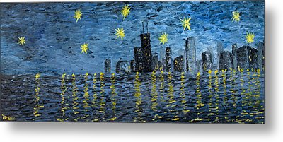 Starry Night In Chicago Metal Print by Rafay Zafer