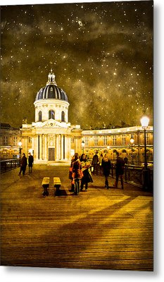 Starry Night Over The Institut De France Metal Print by Mark Tisdale
