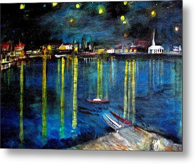 Starry Night Over The Rhone River Metal Print by Rick Todaro