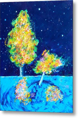 Starry Night With Almost Solitary Tree Metal Print by Ion vincent DAnu