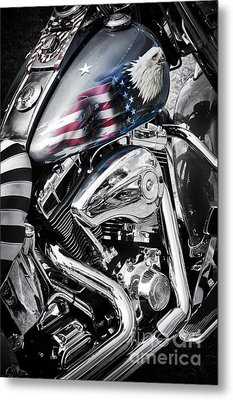 Stars And Stripes Harley  Metal Print by Tim Gainey