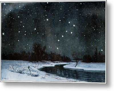 Stars Over Snow Field Metal Print by Cci Archives