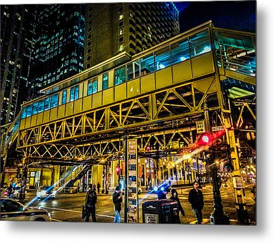 State And Lake El Station Metal Print by Lauri Novak