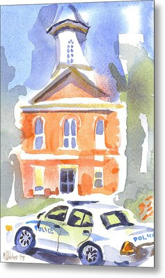 Stately Courthouse With Police Car Metal Print by Kip DeVore