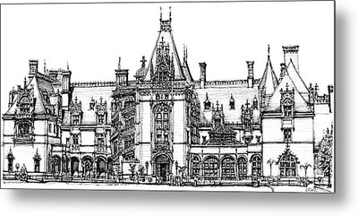 Stately Home In Ink Metal Print by Adendorff Design