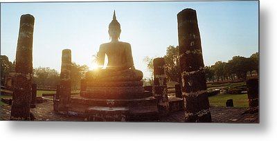 Statue Of Buddha At Sunset, Sukhothai Metal Print by Panoramic Images