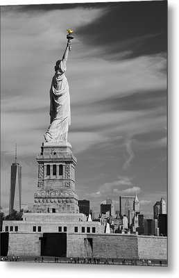 Statue Of Liberty And The Freedom Tower Metal Print by Dan Sproul