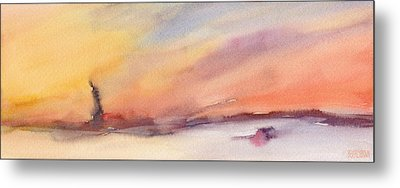 Statue Of Liberty At Sunset Watercolor Painting Of New York Metal Print by Beverly Brown Prints
