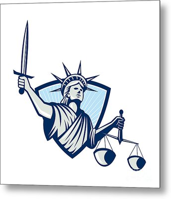 Statue Of Liberty Holding Scales Justice Sword Metal Print by Aloysius Patrimonio