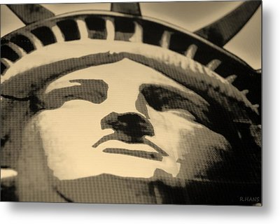 Statue Of Liberty In Sepia Metal Print by Rob Hans