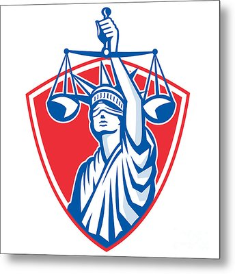 Statue Of Liberty Raising Justice Weighing Scales Retro Metal Print by Aloysius Patrimonio