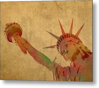 Statue Of Liberty Watercolor Portrait No 3 Metal Print by Design Turnpike