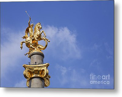 Statue Of St George And The Dragon In Tbilisi Metal Print by Robert Preston