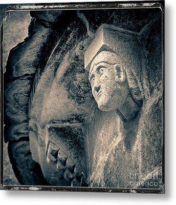 Statue On A Romanesque Church In Auvergne Metal Print by Bernard Jaubert