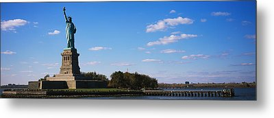 Statue Viewed Through A Ferry, Statue Metal Print by Panoramic Images