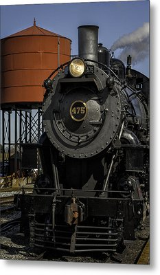 Steam Engine #475 Pulling Into The Strasburg Rr Station  01 Metal Print by Mark Serfass