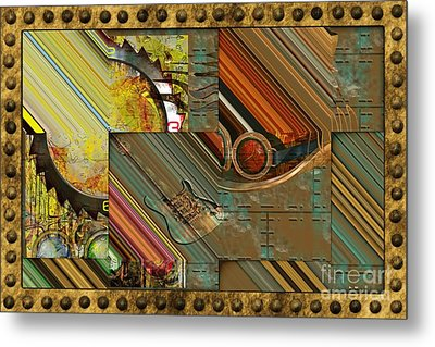 Steampunk Abstract Metal Print by Liane Wright