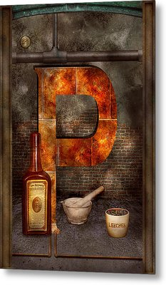 Steampunk - Alphabet - P Is For Pharmacy Metal Print by Mike Savad