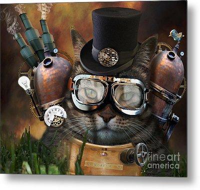 Steampunk Cat Metal Print by Juli Scalzi