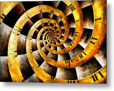 Steampunk - Clock - The Flow Of Time Metal Print by Mike Savad