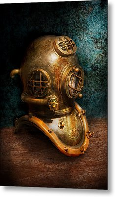 Steampunk - Diving - The Diving Helmet Metal Print by Mike Savad