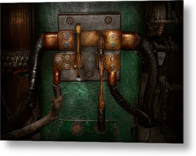 Steampunk - Electrical - Pull The Switch  Metal Print by Mike Savad