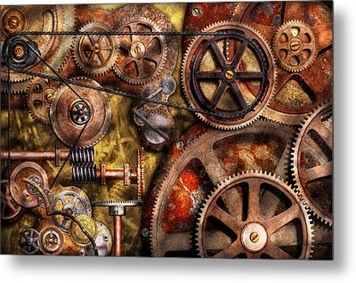 Steampunk - Gears - Inner Workings Metal Print by Mike Savad