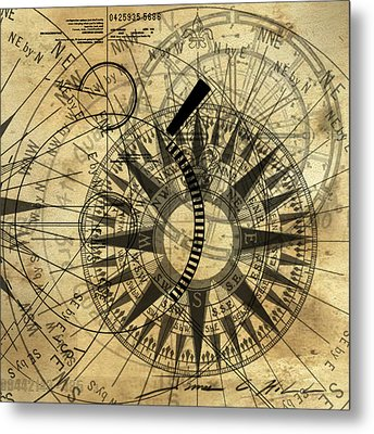 Steampunk Gold Compass Metal Print by James Christopher Hill