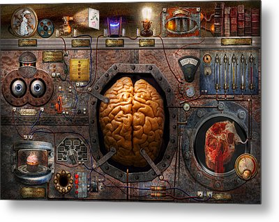 Steampunk - Information Overload Metal Print by Mike Savad