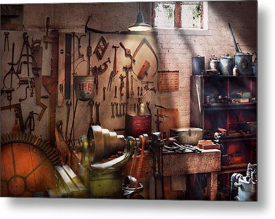 Steampunk - Machinist - The Inventors Workshop  Metal Print by Mike Savad