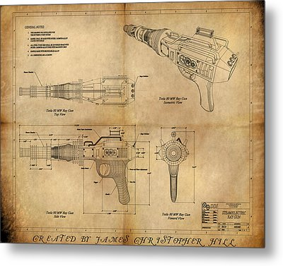 Steampunk Raygun Metal Print by James Christopher Hill