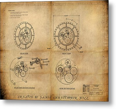 Steampunk Solar Disk Metal Print by James Christopher Hill