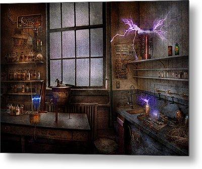 Steampunk - The Mad Scientist Metal Print by Mike Savad