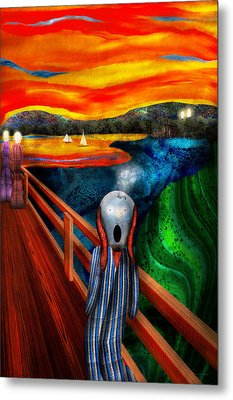 Steampunk - The Scream Metal Print by Mike Savad