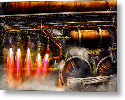 Steampunk - Train - The Super Express  Metal Print by Mike Savad