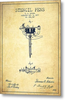 Stencil Pen Patent From 1877 - Vintage Metal Print by Aged Pixel