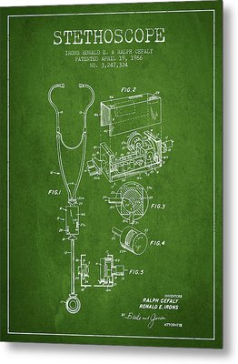 Stethoscope Patent Drawing From 1966- Green Metal Print by Aged Pixel
