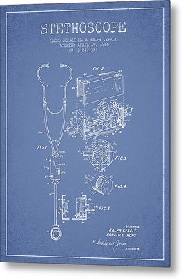 Stethoscope Patent Drawing From 1966- Light Blue Metal Print by Aged Pixel
