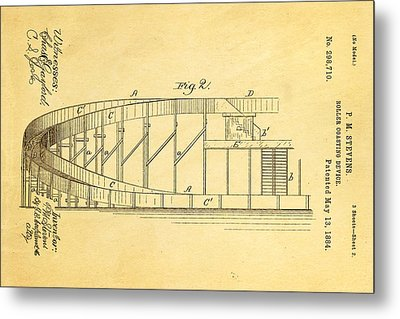 Stevens Roller Coaster Patent Art  2 1884 Metal Print by Ian Monk