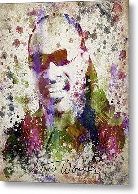 Stevie Wonder Portrait Metal Print by Aged Pixel