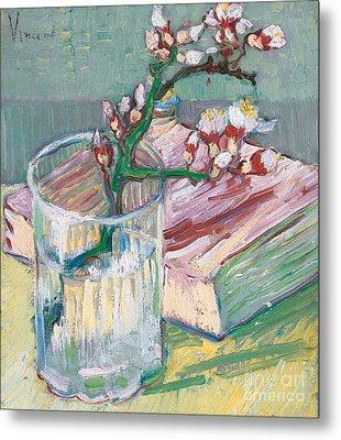 Still Life    A Flowering Almond Branch Metal Print by Vincent Van Gogh