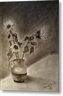 Still Life Ceramic Pitcher With Three Sunflowers Metal Print by Jose A Gonzalez Jr