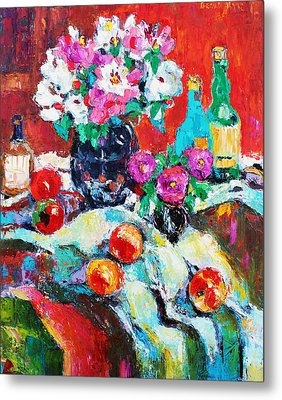 Still Life In Studio With Blue Bottle Metal Print by Becky Kim