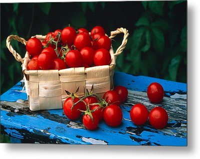 Still Life Of Cherry Tomatoes Metal Print by Panoramic Images