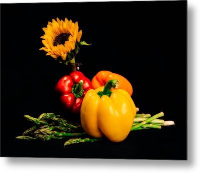 Still Life Peppers Asparagus Sunflower Metal Print by Jon Woodhams
