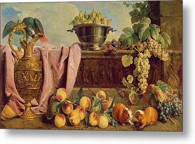 Still Life With A Jug, 1734 Oil On Canvas Metal Print by Alexandre-Francois Desportes