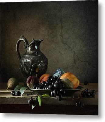 Still Life With A Jug And Fruit Metal Print by Diana Amelina