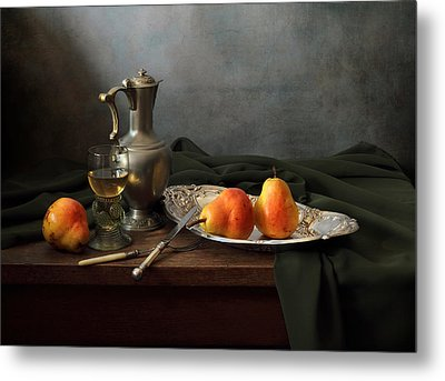Still Life With A Jug And Roamer And Pears Metal Print by Helen Tatulyan