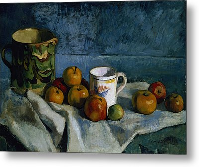 Still Life With Apples Cup And Pitcher Metal Print by Paul Cezanne